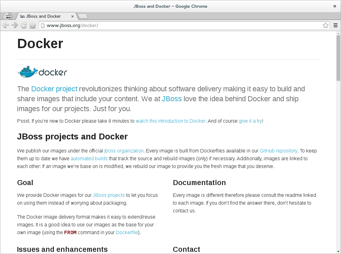JBoss Docker microsite