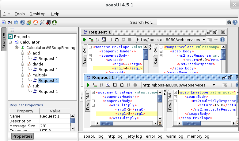 Sample calls to websevice using SoapUI