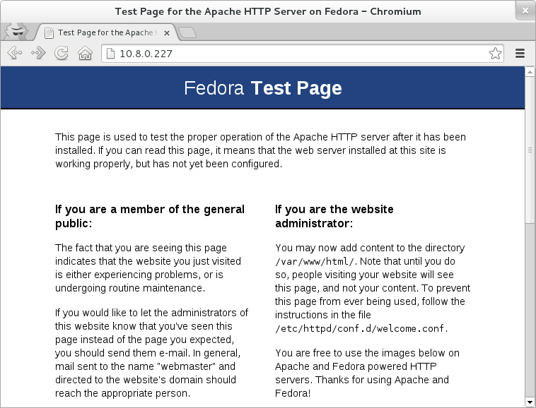 Apache Fedora test page